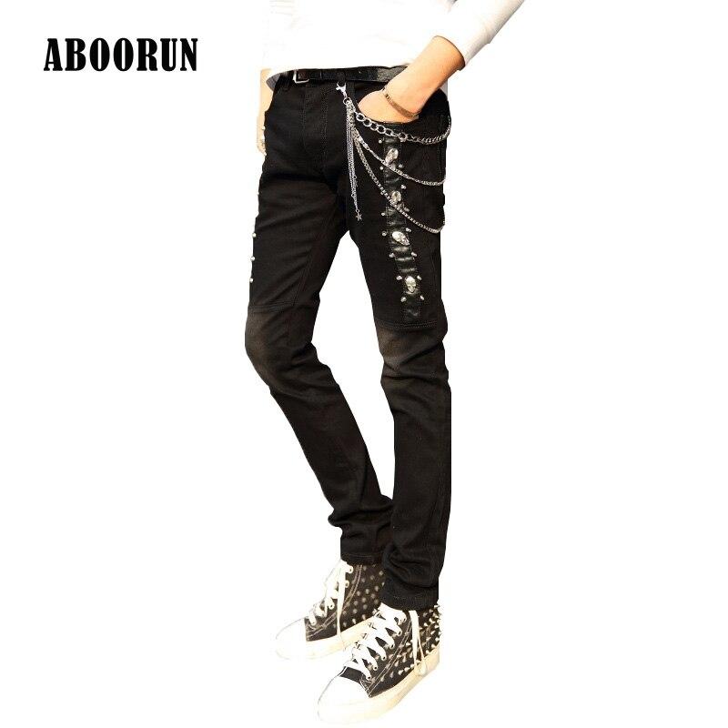 ABOORUN Mens Punk Skull Rivets PU Leather Patches Jeans Fashion Printed Skinny Denim Pants with Sashes and Chain for Men B013Îäåæäà è àêñåññóàðû<br><br>