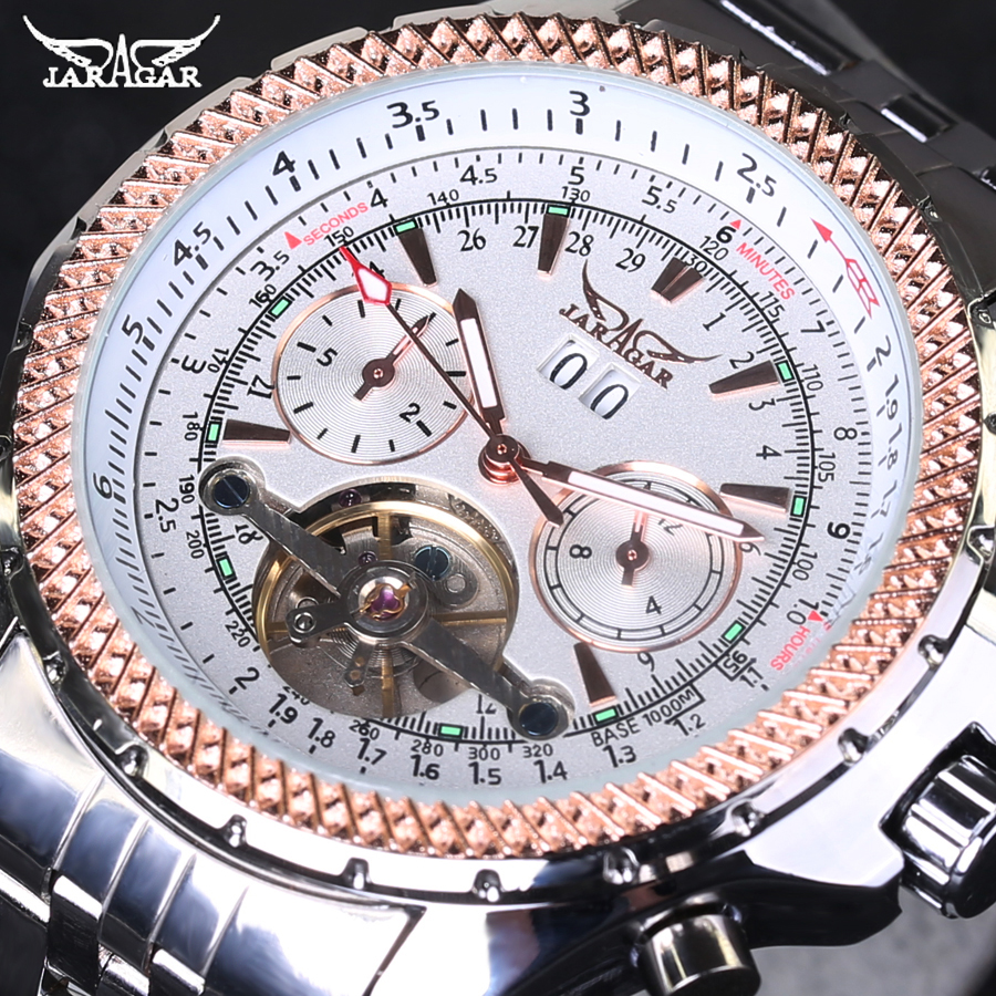 Men Watch Top Brand Luxury JARAGAR Fashion Big Dial Full Stainless Steel Band Automatic Mechanical Tourbillon Watch Men<br>