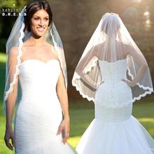 Voile Mariage Wedding Accessories Ivory White Lace Edge Short Wedding Bridal Veil Velos de Novia Veu de Noiva Longo Com Renda