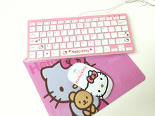 MAORONG TRADING Hello Kitty Cat Cartoon Mini Keyboard Scissors Cute Wired Keyboard and wireless mouse KT Slim keyboard for girls(China)