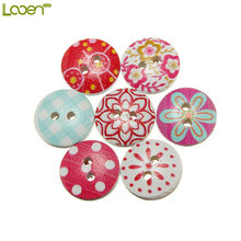 100pcs/lot Circular Button Random Mix Wooden Painting Buttons Craft Scrapbook Sewing Accessories DIY Cardmaking Home Decor Tools