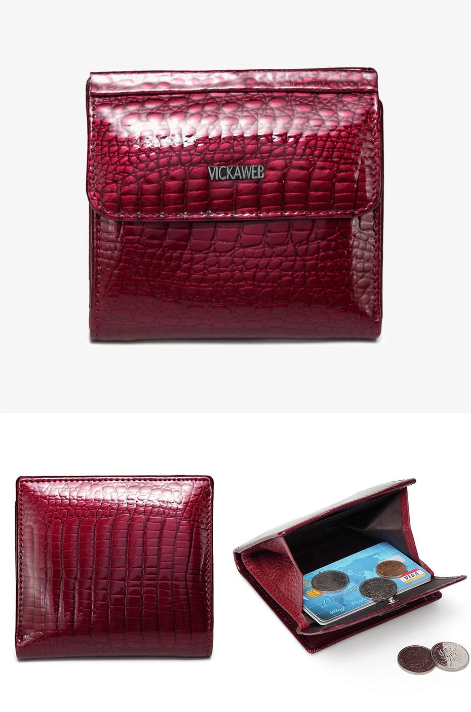 VICKAWEB Mini Wallet Women Genuine Leather Wallets Fashion Alligator Hasp Short Wallet Female Small Woman Wallets And Purses-AE209-017