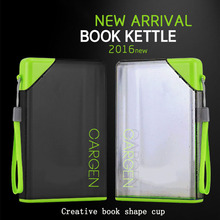 New A5 Notebook 450ML Paper Square Flat Water Bottle Creative Advertising Gift Portable Cover Student Movement Kettle Plastic