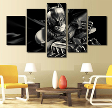 5 piece movie batman dark knight HD comics Print Fabric Painting Group rooms decorated poster image printed fabric Free shipping