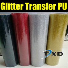 Free shipping Glitter transfer PU FILM for heat press machine for shirts transfer with super quality by size:50CMX25M/ROLL