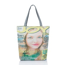 Fashion Women Magazine Print Reusable Canvas Eco Friendly Shopping Bag Grocery Tote Patchwork Shoulder Handbag Tote Bag