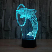 Cute Dolphin Art Deco Lamp Amazing Colorful 3D Night Light for Children Cheap Price Free Shipping(China)
