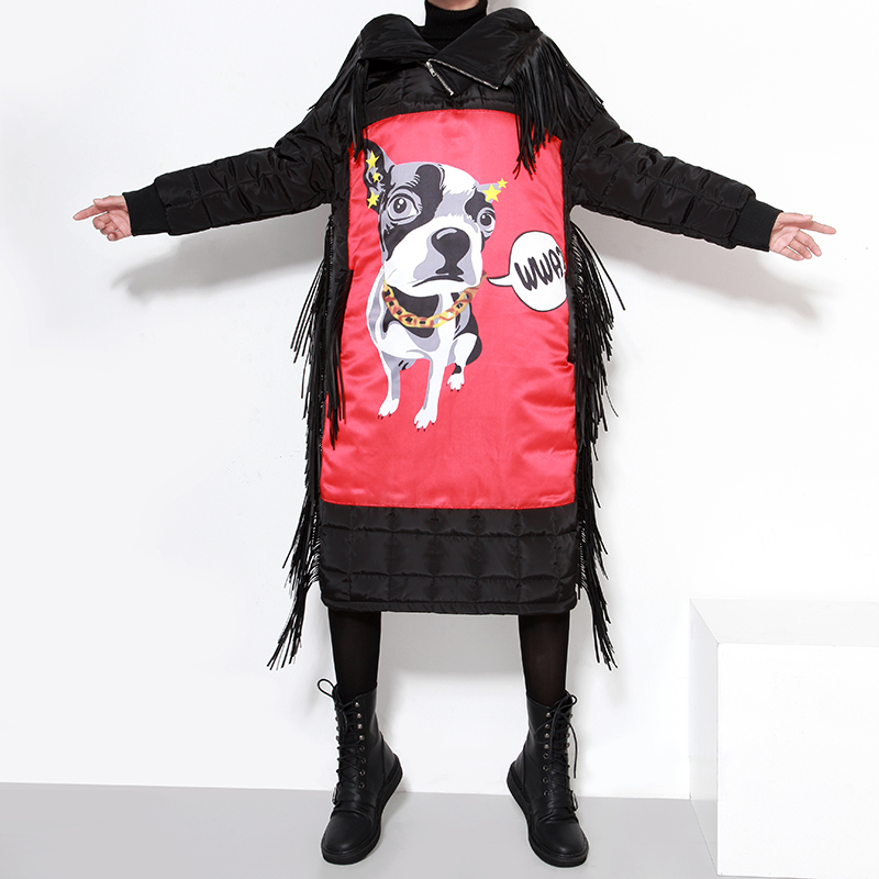 Autumn and winter long jacket puppies printed fringed thick cotton padded women coatОдежда и ак�е��уары<br><br><br>Aliexpress