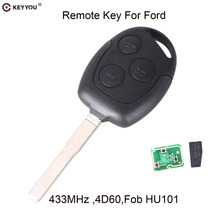 KEYYOU Remote Key 3 Buttons 315/433MHz With 4D60 Chip for Ford Focus Fiesta Mondeo 2001-2007 C MAX Fusion Transit KA FO21 Blade(China)