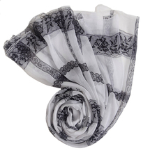 100% pure silk neck summer scarf Printed Lace white black cheap silk scarves soft think necklace scarfs beach tapestry