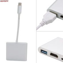 3 IN 1 USB 3.1 Type C TO HDMI+USB3.0 USB-C HUB Aluminum For Cell Phone