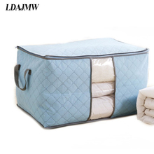 LDAJMW Home Bamboo Nonwoven Bedding Quilt Pillow Blanket Clothing Storage Zipper Bag Case Container Box Cloest Divider Organizer