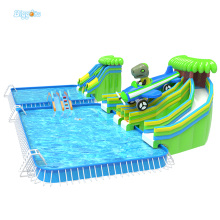New Design Cheap Price Popular Double Lane Slide With Giant Pool Inflatable Water Amusement Park For Kids And Adult