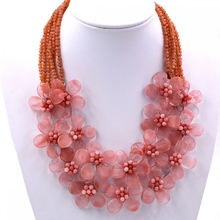 Free Shipping NEW!! Cherry Quartzs Pink Stone Crystal Bib Choker Necklaces Jewelry Hot Sell(China)