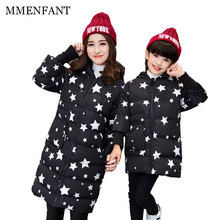 2017 new design family clothing mother daughter winter Five-pointed star pattern jackets mom girl coats family matching clothes