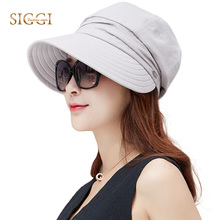 SIGGI Women summer sun hat visor linen bucket packable wide brim UPF50+ uv cap chin strap fashion 89033(China)