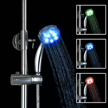 Chrome Finish Temperature-controlled 3 Colors LED Hand Shower Handheld Shower Head D08