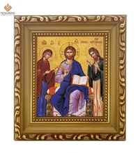 Factory outlets cheap wood photo frame lcon of the  Christ Enthronde orthodox religion byzantine art style religious Itmes