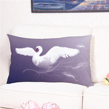 Cute White Swan Animal Printed Cushion Cover Cotton Pillow Case for Sofa Bed Home Wedding Decoration 40*60cm(China)