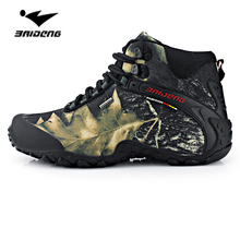New waterproof canvas hiking men shoes trekking boots outdoor camouflage hunting climbing high top 2017 plus large size 45 46(China)