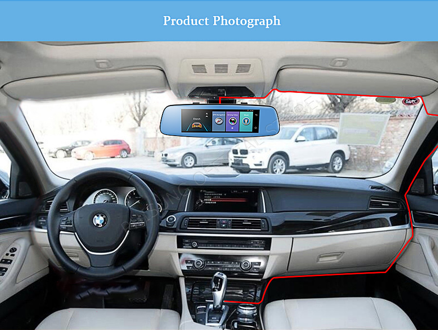 "Phisung E06 4G Car DVR 7.84"" Touch ADAS Remote Monitor Rear view mirror with DVR and camera Android Dual lens 1080P WIFI dashcam 21"