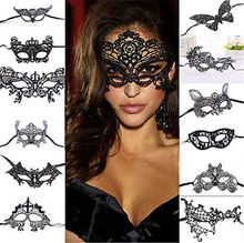 Women Sexy Lace Hollow Eye Face Party Masks Masquerade Ball Halloween Party Fancy Mask Black(China)