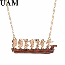 UAM Copper Cartoon Lovely Design Seven Dwarfs On The Wood Pendant Necklaces Girl Cute Gift Sweater Chain Jewelry Bijoux