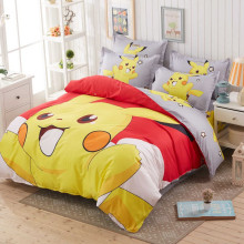 2017 pokemon girls/boys bedding set duvet cover bed sheet pillow case/queen/full/twin size,red,blue