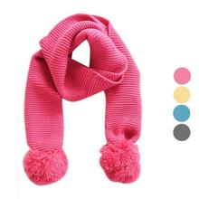 winter Baby Kids scarves Knitting Wool Double ball wool knit Solid infants muffler shawl neckerchief 120*9cm 2-6Y 4 colours
