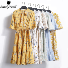 Buy SunnyYeah Women Summer Chiffon Dress Female Floral Print Casual Dress 2018 Ladies Short Sleeve Ruffle Dresses Sundress Vestidos for $11.89 in AliExpress store
