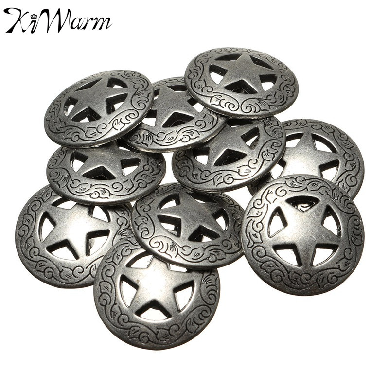 10Pcs/set 20mm Western Texas Star Concho Buttons Snap Fastener for Clothing Apparel Home Textiles Leathercraft DIY Accessories(China)