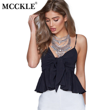 MCCKLE 2017 Women Summer Navy Blue Spaghetti Strap Solid Hollow Out Thin Cool Loose Charming Sun-Top Sexy Vest