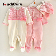 Newborn Cute Floral Cotton Baby Girl Rompers Infant Lace Bow-Knot Romper+Hat Children Clothes Sets Long Sleeve Toddler Jumpsuit(China)