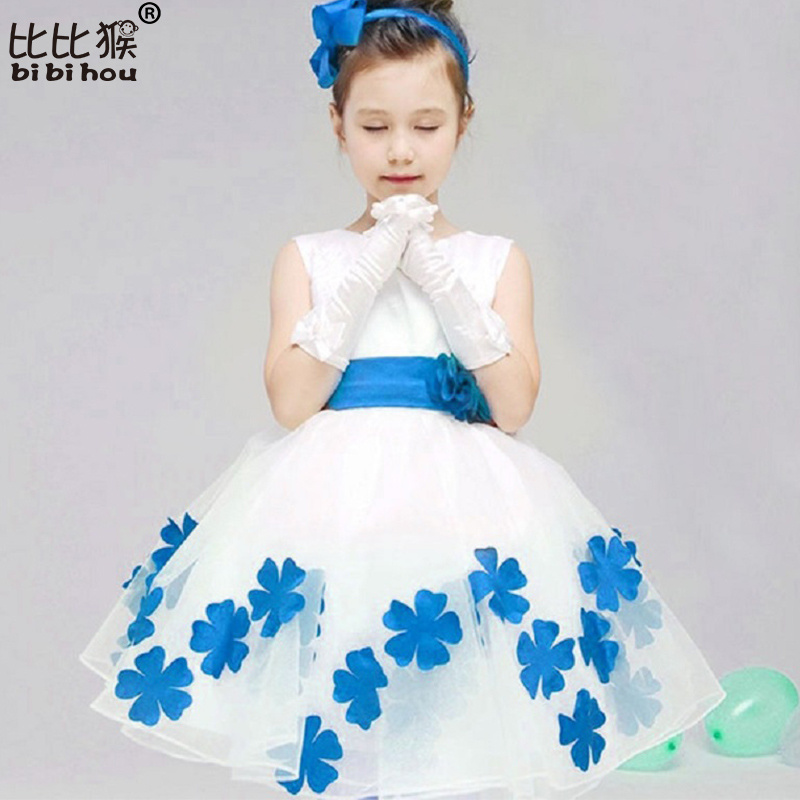 2017 NEW Girls Dresses Girl Flower Princess Dress Sleeveness For 10Years Party girl Dress Bridesmaid Gown Costume Kids clothes<br><br>Aliexpress