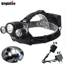 New Arrival Professional Headlamp Headlight 4800LM BrightFire XML-T6+2 R2 LED Head lamp 4 Mode Bicycle Light with Charger