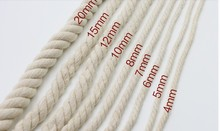 2-10m/lot 4-20mm DIA 3 strands of cotton string cords handwork woven twist decoration rope beam line sewing diy accessories 1438(China)