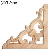 KiWarm Vintage Wood Carved Decal Corner Onlay Applique Frame Furniture Wall Unpainted For Home Cabinet Door Decor Crafts 8*8cm(China)