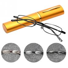 Unisex Portable Mini Clear Reading Glasses Reader Eyewear with Case Box Men Women 1.0 1.5 2.0 2.5 3.0 3.5 4.0 Lens Strengths