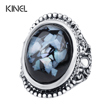 Luxury Shells Resin Ring For Women Dazzle Artificial Coral Accessories Silver Plated Vintage Oval Big Rings Size 7-10
