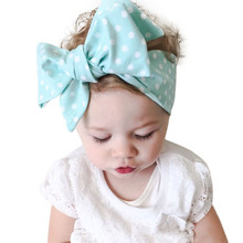Hot sale baby girl headband big wide Wave Spot Baby Girls Headband Elastics For Newborns Elastic Head Band for girl hair bows(China)