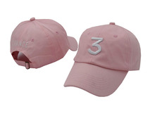 Popular chance the rapper 3 Hat Cap white pink Black Letter Embroidery Baseball Cap Hip Hop Streetwear Snapback Sun Hat Bone