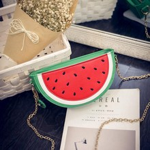 Hot Sale Women Leather Shoulder Bag Personality Watermelon Orange Chain Messenger Crossbody Bag Causal Phone Coin Purse Bolsa