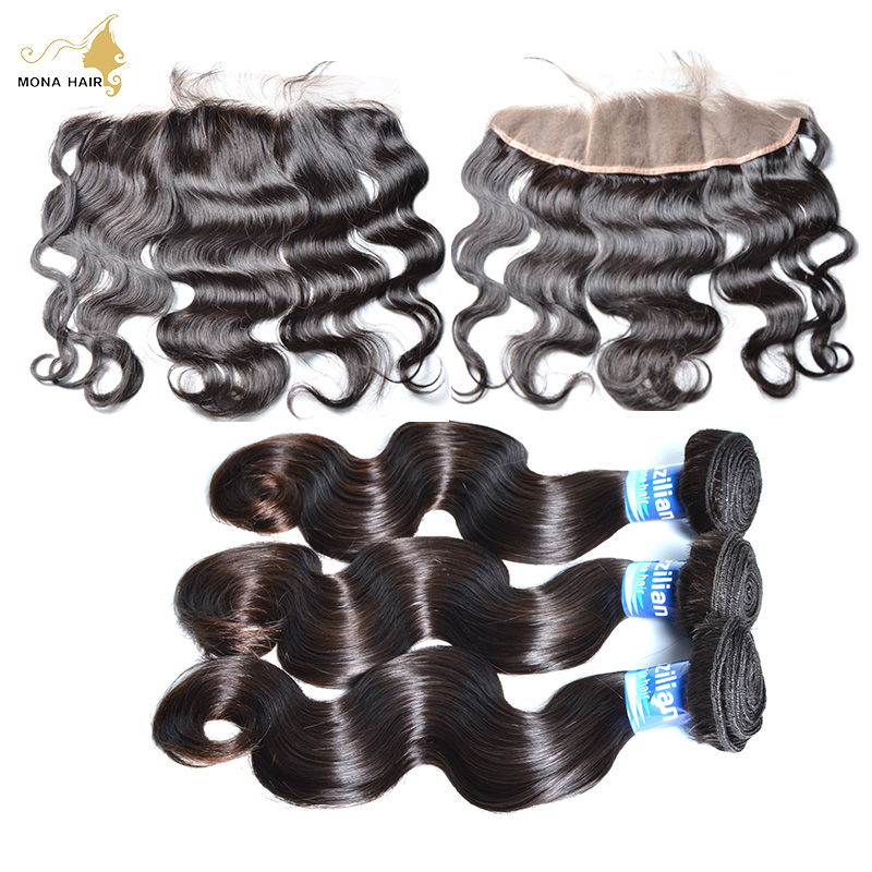 hair bundles with lace frontals 8A brazilian Body Wave 3 Bundles With 13x4 lace frontals with baby hair can be customized<br><br>Aliexpress