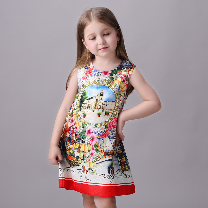 New Fashion flower print Kids Girls Dress clothes sleeveless kids Summer Casual dresses childrens clothing 3-9Y<br>