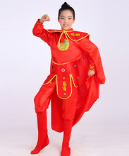 red hua mulan costume for children warrior cosplay costume for girls red festival dance costumes for children chinese ancient(China)