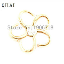 Gold plating white Plumeria Rhinestone Flower Floating Charms For Memory Locket Pendant 20pcs/lot