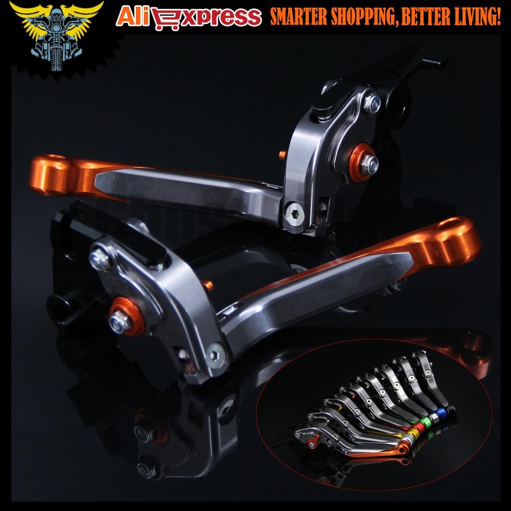 Orange+Titanium Adjustable Extendable Motorcycle Brake Clutch Levers For Yamaha FZ6 FAZER 2004 2005 2006 2007 2008 2009 2010 <br>