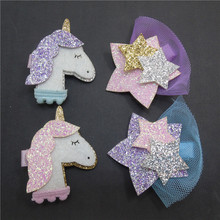 10pc/lot Cartoon Animal Hair Clip Glitter Synthetic Leather Unicorn Hairpin Animation Horse Kid Hair Barrette Sparkly Star Grips
