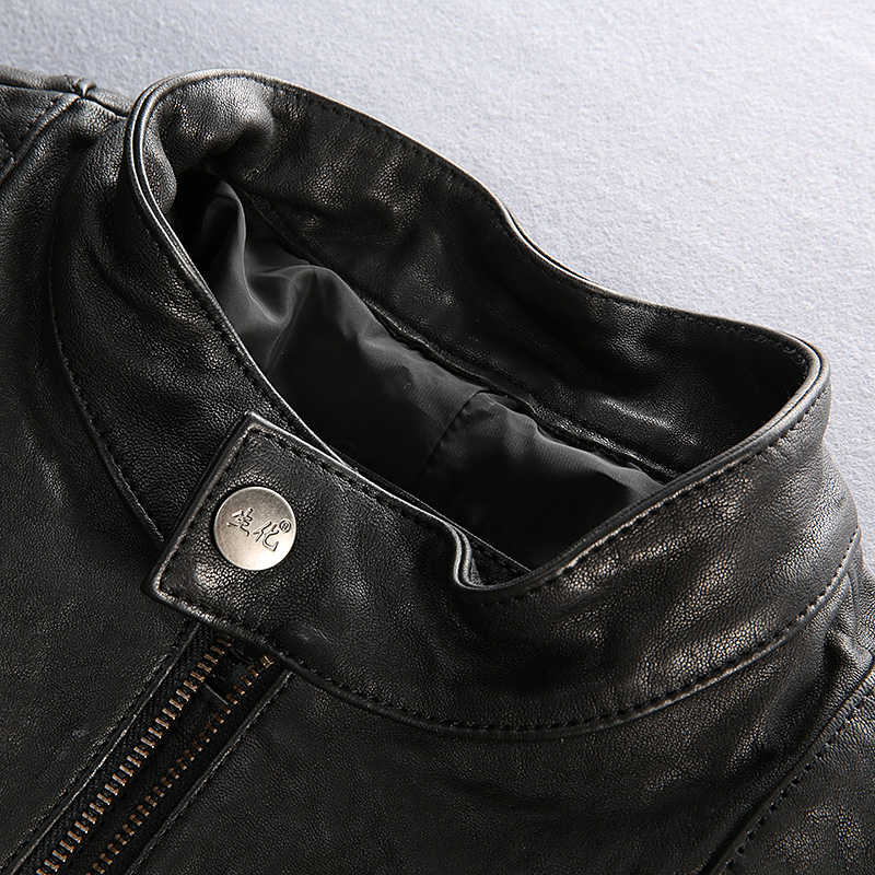 Plant tranned Goat black motorcycle leather jacket men slim fitted biker jacket male New Fashion genuine leather coat men M-XXXL