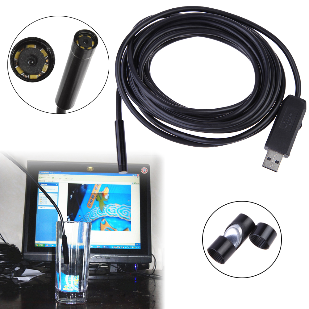 New Arrival USB 5M Cable Wire 6 LED 7mm Lens Borescope Camera Waterproof Endoscope   FC<br><br>Aliexpress